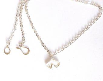 Sterling gingko leaf necklace, botanical jewelry, ginkgo pendant, leaf jewelry, botanical replica, garden accessory, gardener gift