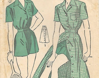 Advance 4901 1940s Gym Shorts Skirt Blouse Unprinted Vintage Sewing Pattern Size 16 Bust 33 Playsuit Sports Uniform