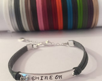 Shine On.  Inspirational Leather Bracelet. Charm bracelet.  Gift For Her. Graduation gift. Cuff bracelet. Sun bracelet. Sun charm. Stamped