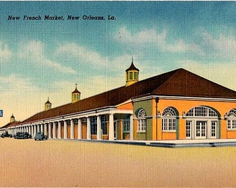 Vintage New Orleans Postcard -  The French Market (Unused)