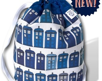 Police Boxes - NEW! One Skein Project Bag for Knitting, Crochet, or Cross Stitch