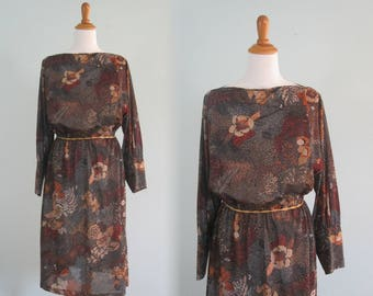Gorgeous 70s Copper Floral Sheer Dress - Vintage Sheer Floral Dress with Dramatic Cuffs - Vintage 1970s Dress XL XXL