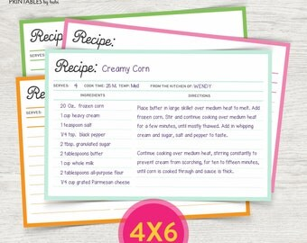 Recipe template | Etsy