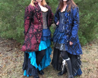 Red and Black Captains Coat, Women's, Pirate Coat, Jacket, Renaissance, Costume, Halloween