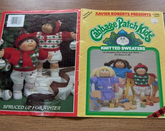 Vintage 80s Knitting patterns Cabbage Patch Kids Doll SWEATERS