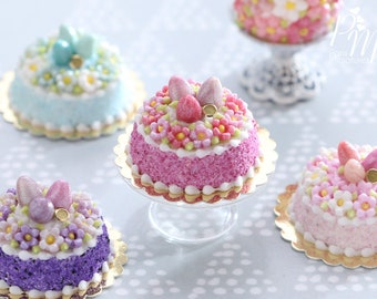 Spring Blossom Easter Egg Nest Cake (Dark Pink) - Miniature Food in 12th Scale for Dollhouse