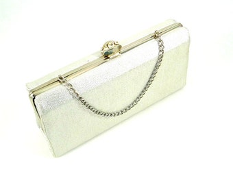 Vintage Silver Evening Bag with Convertible Chain and Rhinestone Clasp