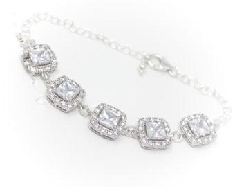 Wedding Bracelet Rhinestone Silver Bridal Bracelet