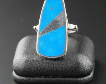 Turquoise Ring, Minimalist Ring, Modernist Ring, Sterling Silver Ring, Geo Ring, Mod Ring, Size 9 Ring, Atomic, Mid Century, 60s Ring