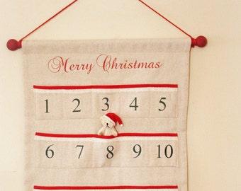 Advent Calendar Natural Osnaburg Fabric