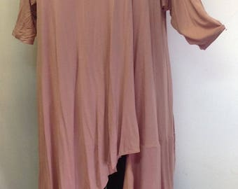 Coco and Juan, Plus Size Top,  Asymmetric Tunic, Womens Top, Dusty Rose Pink Rayon Knit, Size 2 (fits 3X,4X) Bust 60 inches