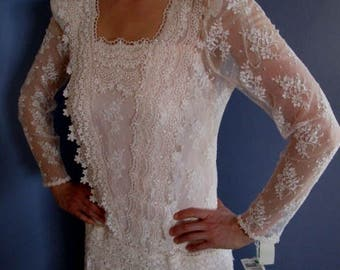 Vintage Wedding Dress, New Old w/ Tags Lord and Taylor, Bride Gown, Tea Length, Lace, Pale Pink Champagne, Sheer Lace Overlay, Small Size