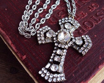 Vintage Style Cross Pendant Baguette Stones Necklace Clear Glass Rhinestones Antique Silver Filigree Metal Ormolu Style Large Pendant