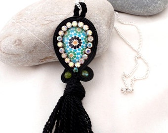 black boho tassel necklace | morrocan mosaic jewelry inspiration | valentines jewelry for boho | spring boho necklace |Blue black jewellery