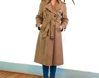 Vintage 70s Etiene Aigner Trench Coat Ladies Double Breasted Dark Khaki Rain Jacket Belted Chestnut Brown Lapel Flap 1970s Women's Trench