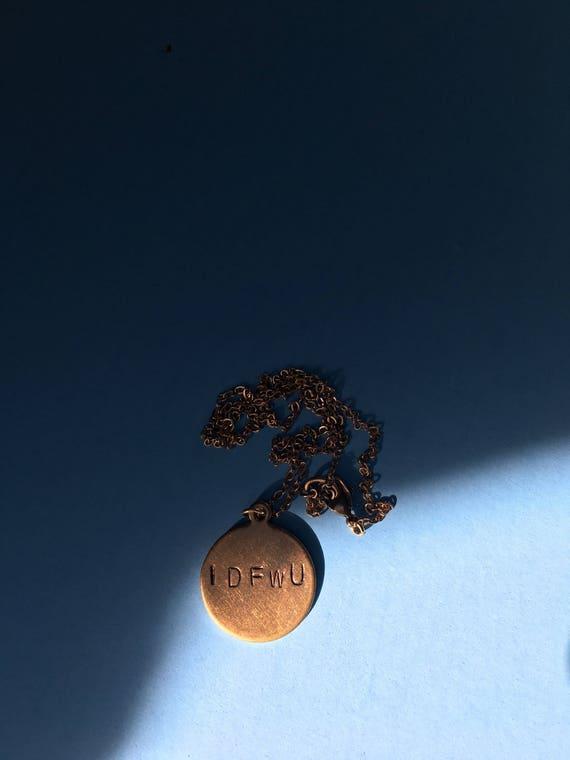 Big Sean IDFWU Engraved Circle Necklace