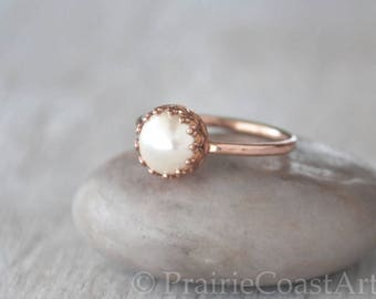 Rose Gold Pearl Ring in 14k Rose Gold-Filled - Swarovski Pearl Ring - Handcrafted Artisan Ring