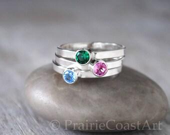 Three Birthstone Rings in Sterling Silver - Birthstone Stack Rings - Choose Birthstones - Mothers Ring  - Sterling Birthstone Stacking SET