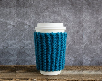 Coffee Mug Cozy, Coffee Cozy, Teal Decor, Chunky Knit Coffee Sleeve, Cup Cozy, Coffee Cup Cozy, Coffee Cup Sleeve, Cup Warmer, Teal Wedding