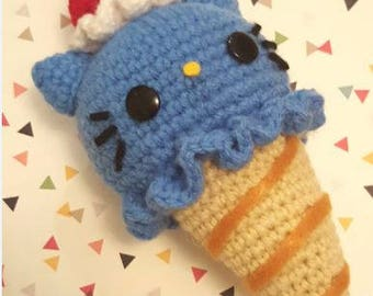 Ice Cream Cat Amigurumi Pattern - Kawaii Cat Lady - Hello Kitty - PDF - Instant Download
