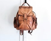 90s vintage leather backpack | distressed leather rucksack