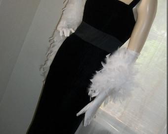 1920s 1930s Style Vintage Black Velvet Goth Elegant Evening Gown Jim Hjelm Satin Trim Size S/M