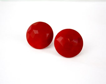 Vintage 50s Glass Button Earrings  Round Red Molded Glass Button Earrings Screw on Backs Signed W. Germany