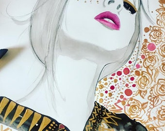 The New Bohemian, print from original watercolor and mixed media fashion illustration by Jessica Durrant