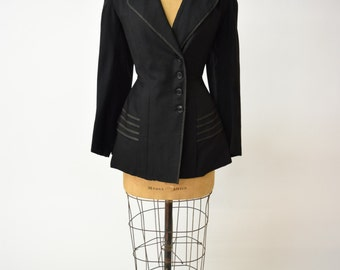 Antique Edwardian Black Jacket w Exquisite Tailoring, Decorative Buttons, Peplum Effect, Shawl Collar // Chic Timeless Design