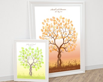 entwined fingerprint guest book tree - printable file - thumbprint wedding tree, customised personalised, unique, ketubah, fingerprint tree