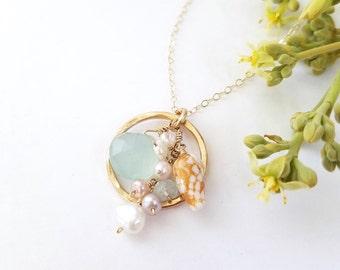 One of a Kind Hawaiian Shell necklace - by Tidepools Jewelry - Dainty Beach wedding jewelry, Gold Hawaii shell necklace, Tide pools Jewelry