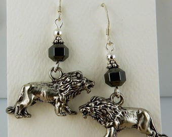 3D Pewter African Lion Dangle earrings with Hematite gemstone beads