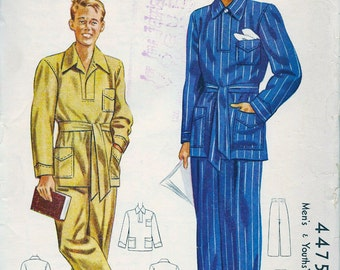 UNCUT * McCall Pattern 4475 - Vintage 1940's Sewing Pattern - Men's Pajamas  - Size Medium (38-40)