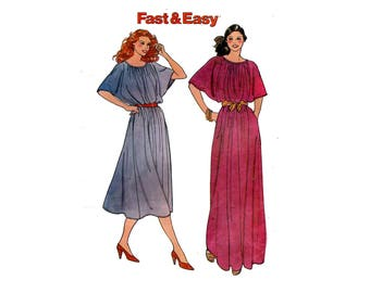 1970s Easy Dolman Dress Pattern Pullover Blouson Goddess Dress Evening or Day GAthered Neck Butterick 6784 Bust 31 32 Vintage Sewing Pattern