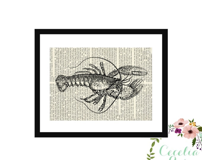 Lobster Lobstah New England Maine Lobster Vintage Book Art Box Frame Upcycled or Print