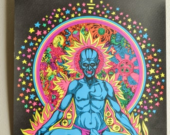 """Vintage Blacklight Poster Neon """"Burning Buddha"""" Captain Colors Poster  1970s"""
