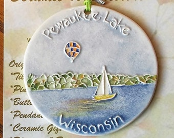 Pewaukee Lake Wisconsin & Hot Air Ballooning  LOCALLY HANDMADE ORNAMENT includes free gift wrap