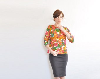 mod rainbow butterfly blazer . bright colorful 1960 wool mariposa jacket .medium .sale
