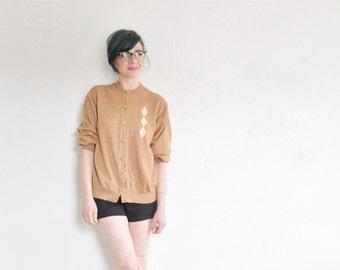 mid century argyle cardigan sweater . lightweight gold diamond jumper .medium.large
