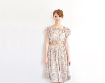 1950 floral day dress . sheer mid century taupe brown flower leaf dress .medium .sale