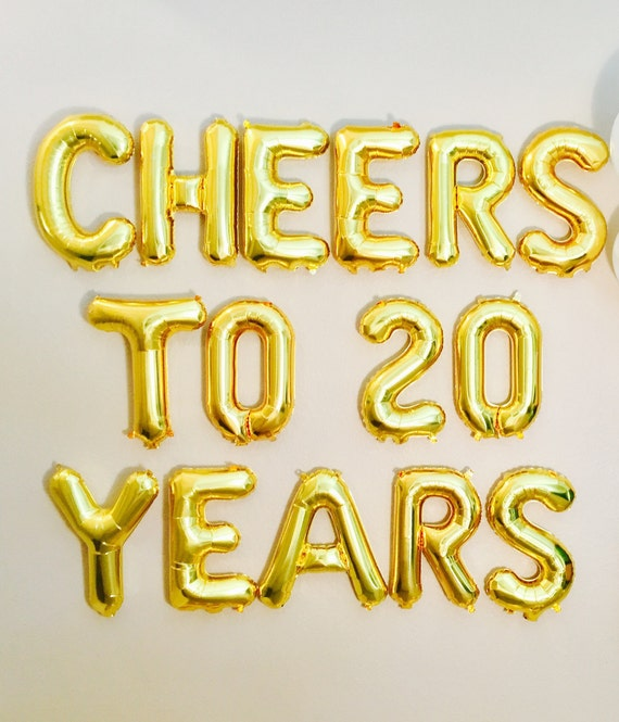 Cheers To 20 Years Banner 20 Years Balloons Cheers To 20