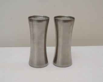 Vintage Brushed Stainless Salt & Pepper Shakers