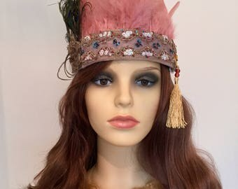 Pink feather festival headband, Coachella, Burning Man, Secret Garden Party.