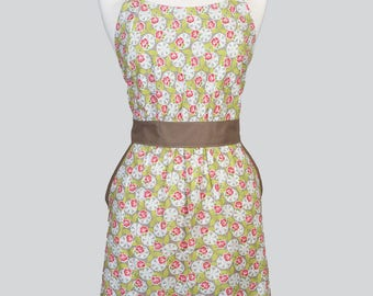 Classic Womens Full Apron - Green Pink Ivory Spring Floral Mothers Day Retro Vintage Style Cute Kitchen Apron with Pockets and Fitted Bodice
