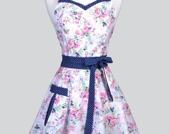 Sweetheart 50s Womens Apron . Pink Navy Spring Floral Retro Cute and Flirty Vintage Style Pin Up Hostess Kitchen Apron with Fitted Bodice