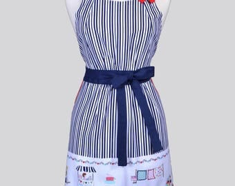 Classic Womens Full Apron / Vintage Market Border and Navy Stripes Cute Vintage Style Kitchen Cooking Apron with Pockets