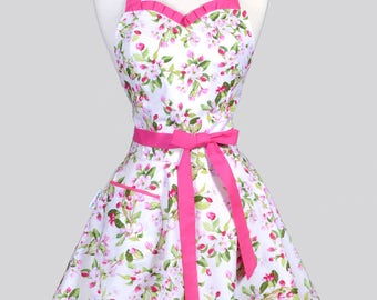 Sweetheart 50s Womens Apron - Spring Pink and Green Apple Blossom Retro Cute Flirty Vintage Style Pin Up Kitchen Apron with Fitted Bodice