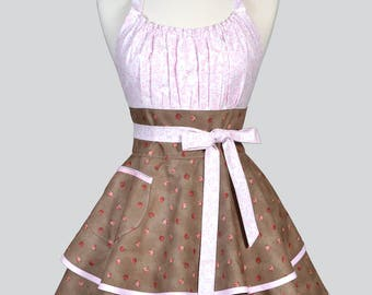 Womens Flirty Chic Apron - Pink Beige Pretty Rose Bud Womans Cute Retro Vintage Style Pinup Kitchen Hostess Apron with Full Ruffled Skirts