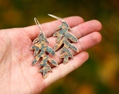 Mighty Oak earrings - copper and sterling silver - autumn - patina - organic - raw - earthy - woodland - forest earrings