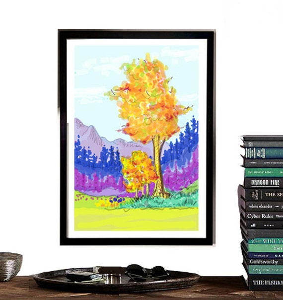 Tree Sketch, Living Room wall art, Digital Download, Instant wall art, Autumn Trees, Digital sketch, vibrant and colorful wall art,